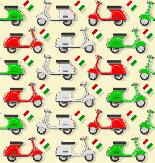 GraphicRiver Pattern with Three Scooter in Varius Color 10511703