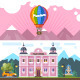 Hotel Landscape with Hot Air Balloon - GraphicRiver Item for Sale