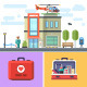 Hospital Building with a Helicopter on Roof. - GraphicRiver Item for Sale