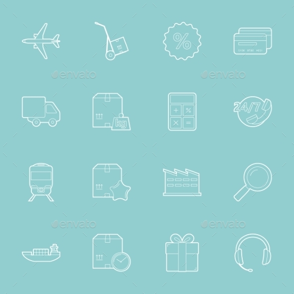 GraphicRiver Logistics Thin Lines Icons Set 10512036