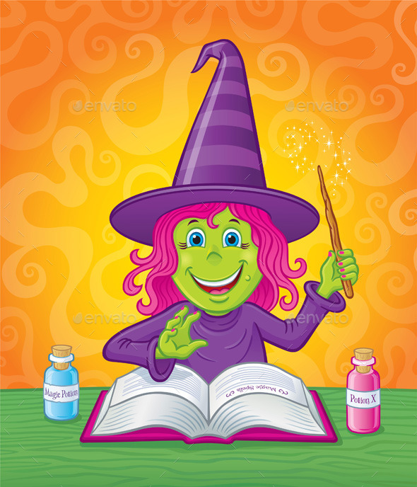 GraphicRiver Girl Witch Casting a Spell 10512040
