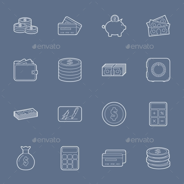 GraphicRiver Money and Financial Thin Lines Icons 10512070