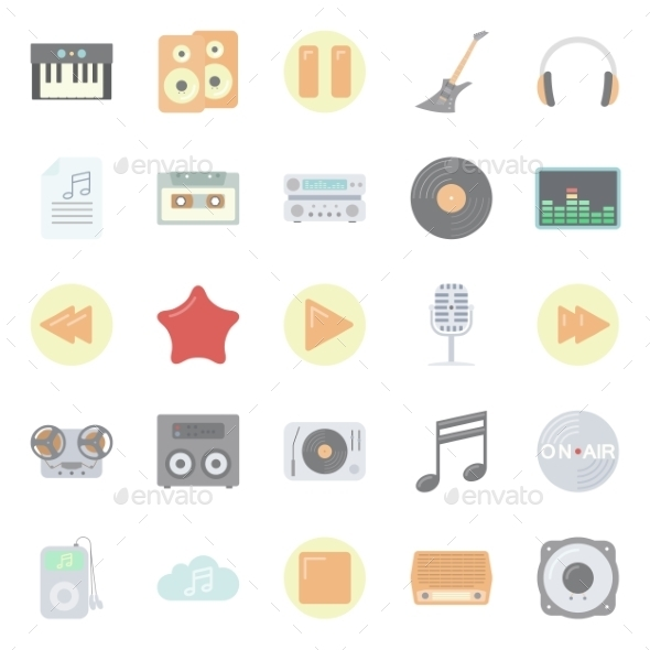 GraphicRiver Music and Audio Flat Icons Set 10512236