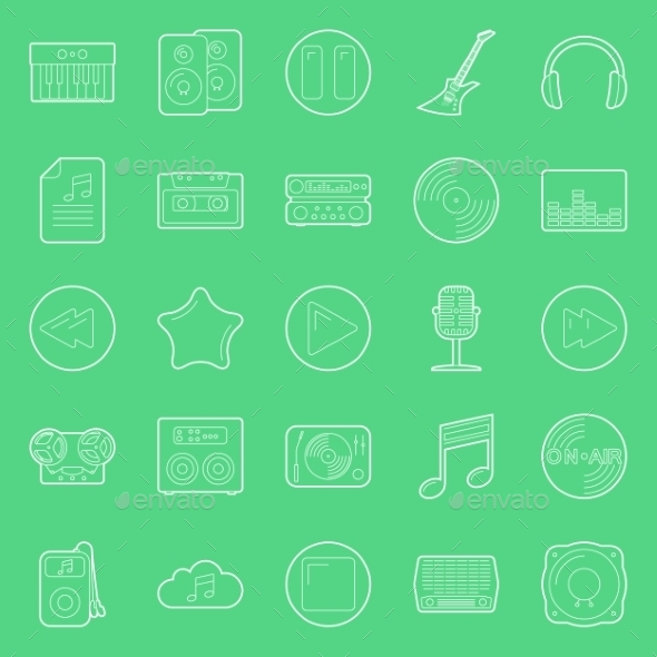 GraphicRiver Music and Audio Thin Lines Icons Set 10512241