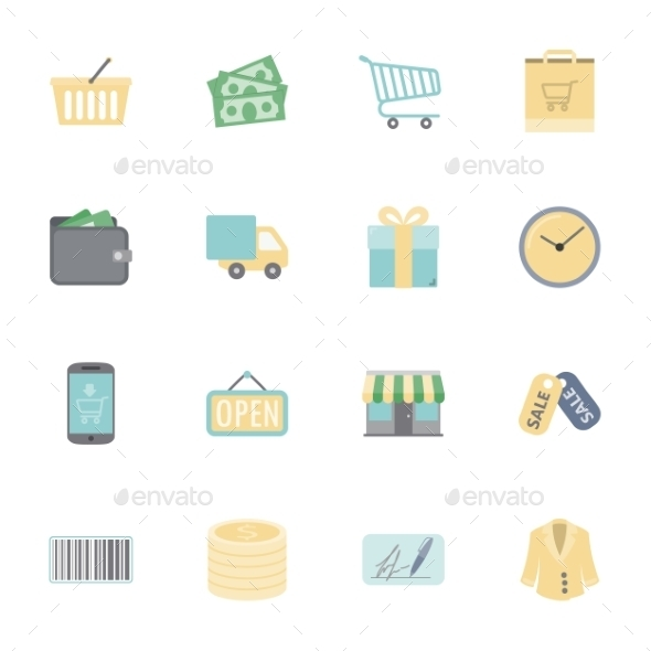 GraphicRiver Shopping Flat Icons Set 10512295