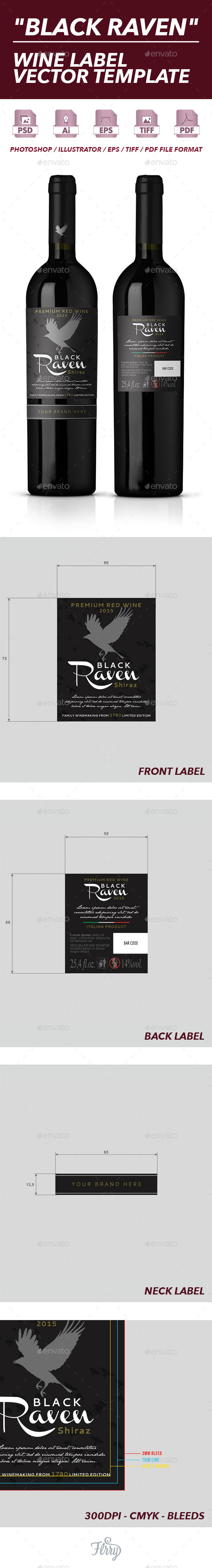 GraphicRiver Black Raven Wine Label Vector Template 10512547