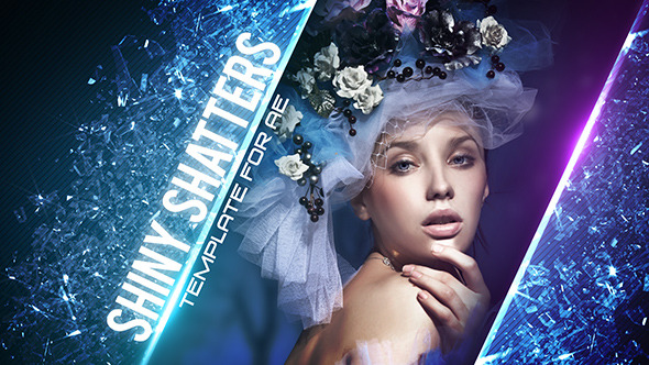 AE模板 时尚魅力玻璃破碎栏目包装幻灯片展示效果设计模版 Shiny Shatters免费下载