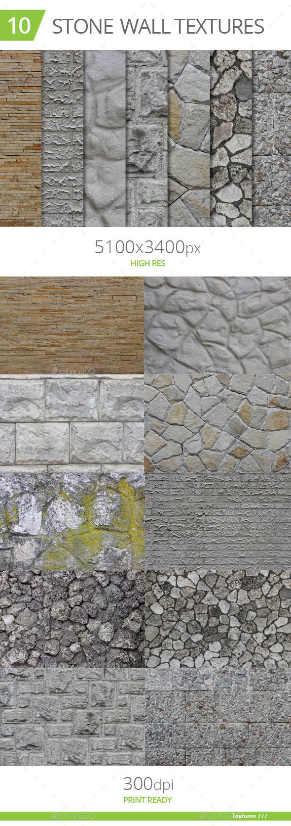 GraphicRiver 10 Stone Wall Textures 10512932