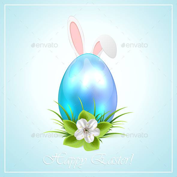 GraphicRiver Blue Easter Egg and Bunny Ears 10513084