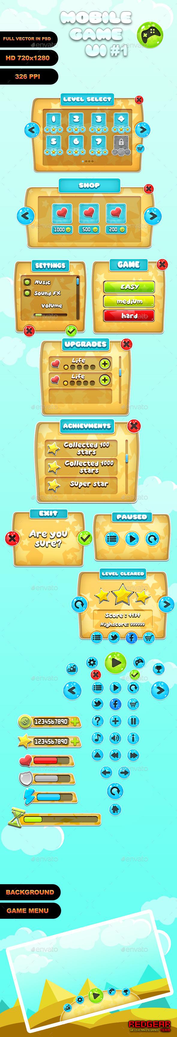 GraphicRiver Mobile Game UI #1 10513895