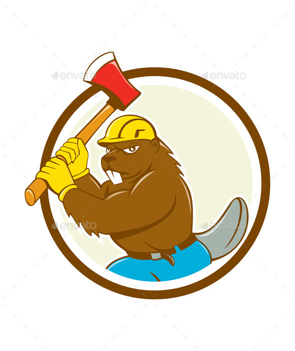 GraphicRiver Beaver Lumberjack Wielding Ax Circle Cartoon 10513939