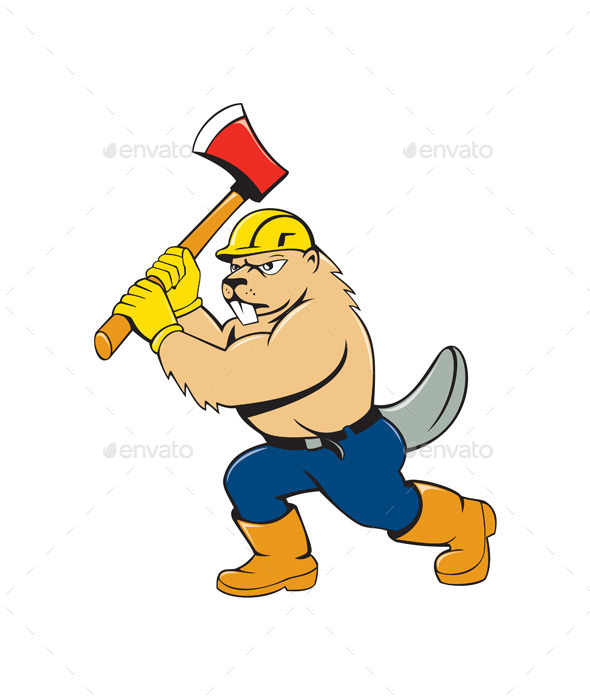 GraphicRiver Beaver Lumberjack Wielding Ax Cartoon 10513941
