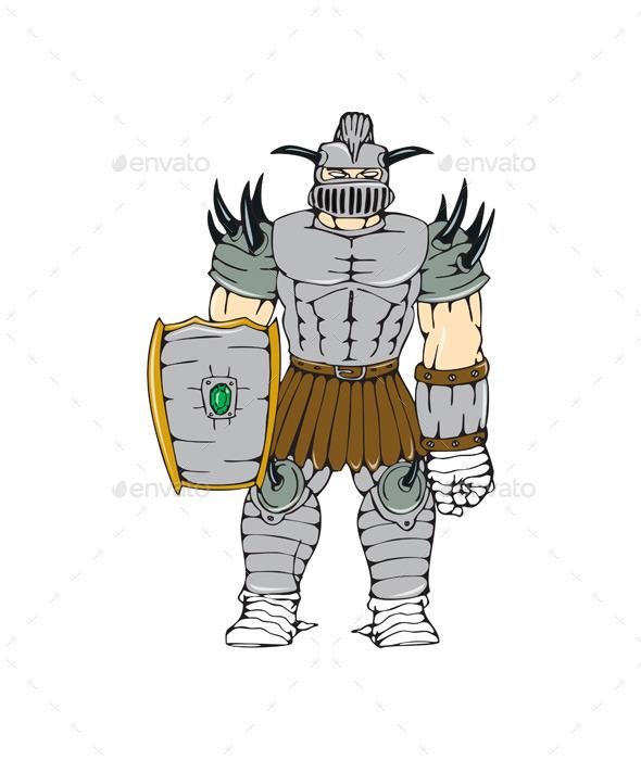 GraphicRiver Horned Knight Full Armor Shield Cartoon 10513967