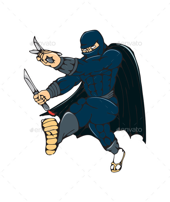 GraphicRiver Ninja Masked Warrior Kicking Cartoon 10513987