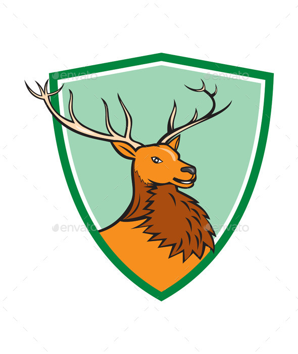 GraphicRiver Red Stag Deer Head Shield Cartoon 10514022