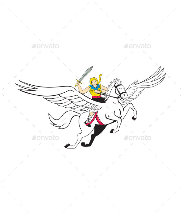 GraphicRiver Valkyrie Amazon Warrior Flying Horse Cartoon 10514026