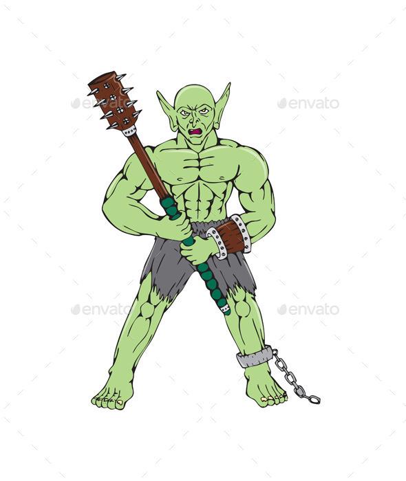 GraphicRiver Orc Warrior Wielding Club Cartoon 10514028