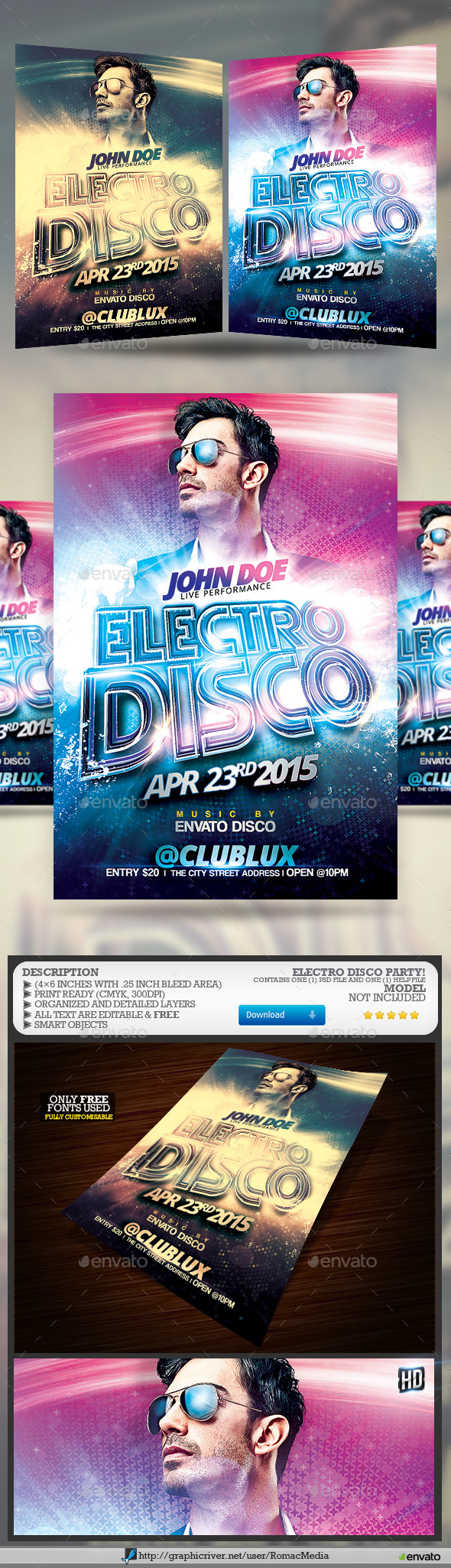 GraphicRiver DJ Electro Disco Party Flyer 10514111
