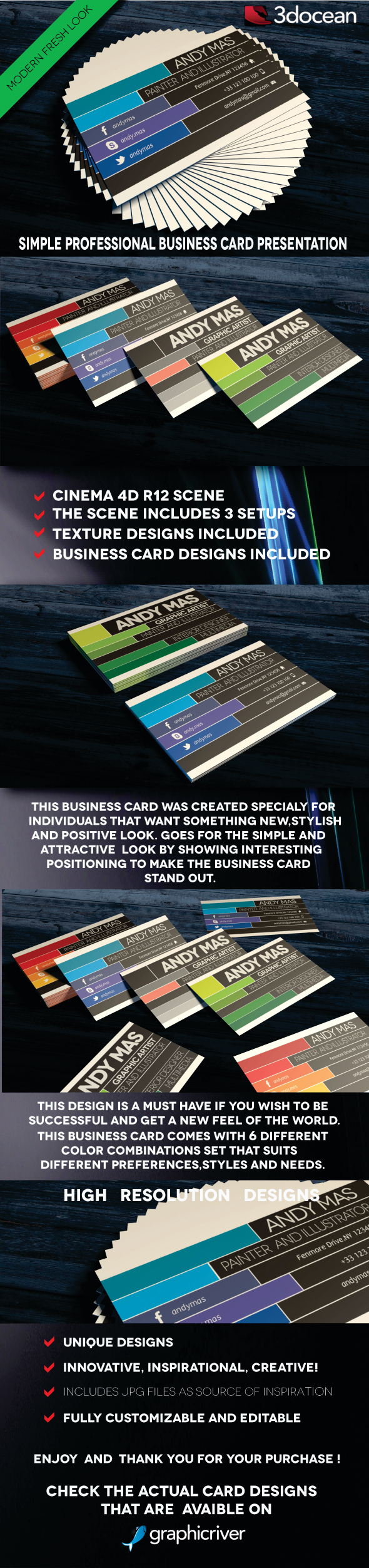 Modern Business Cards Presentation Project Scene