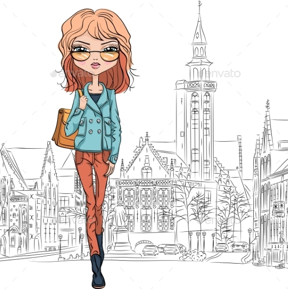 GraphicRiver Fashion Girl in Bruges 10514235