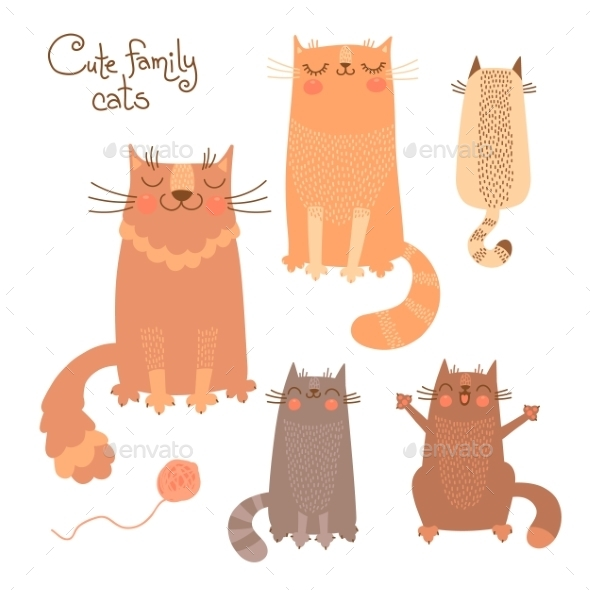 GraphicRiver Set with Cats and Kittens 10514306