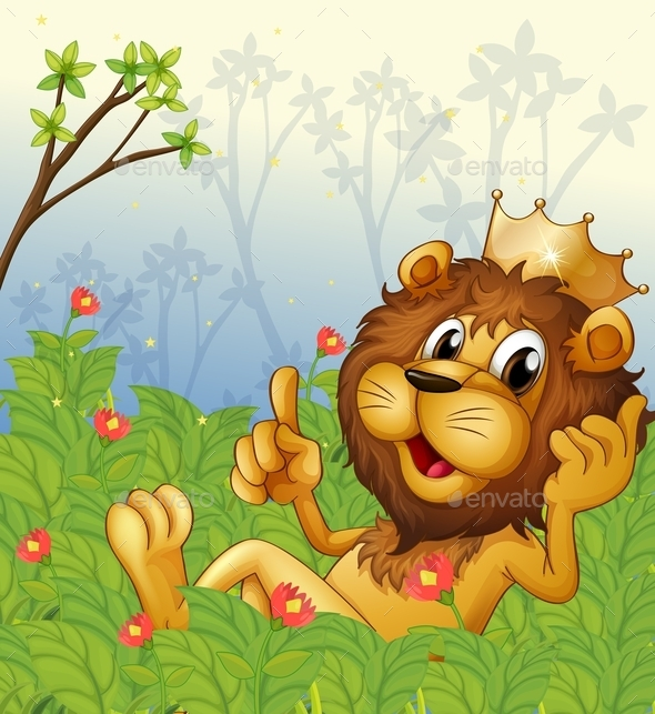 GraphicRiver Lion with a Crown at the Forest 10514554