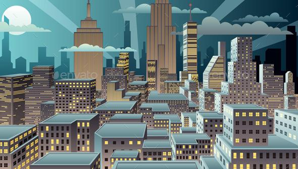 GraphicRiver Cityscape Night 10517005