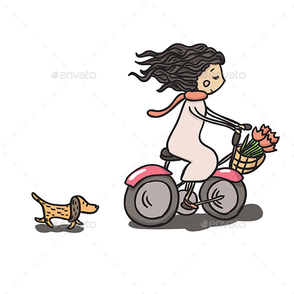 GraphicRiver Girl Riding Bike 10517167