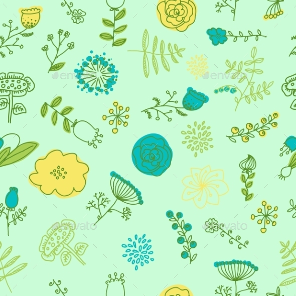 GraphicRiver Elegance Seamless Pattern with Flowers 10517171