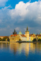 Picturesque view of the Vltava River and Old Town in Prague, Cze - PhotoDune Item for Sale