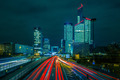 Night road with skyscrapers of La Defense, Paris, France. - PhotoDune Item for Sale