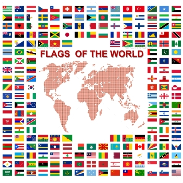 Flags of the world with Map