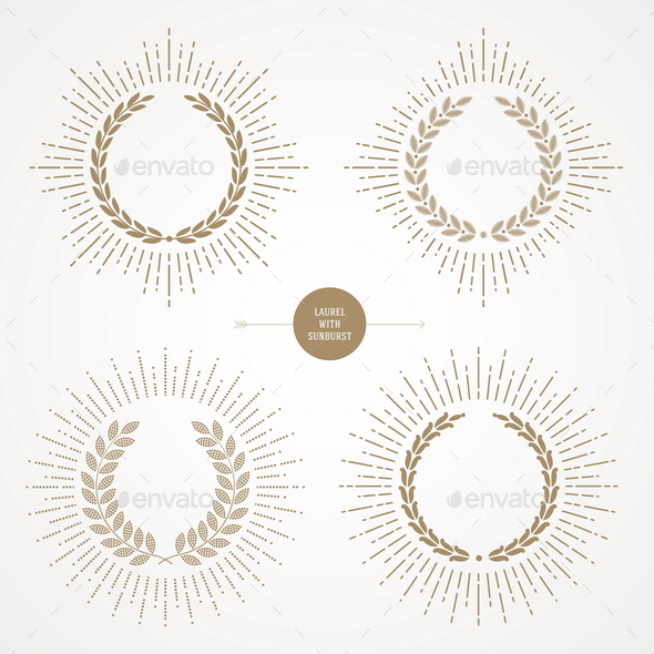 GraphicRiver Set of Laurel Wreath With Sunburst 10519151