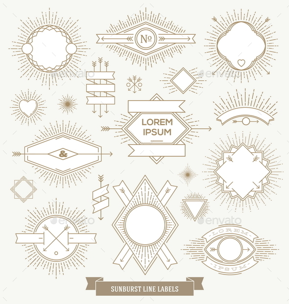 GraphicRiver Hipster Line Labels and Emblem with Sunburst 10519168