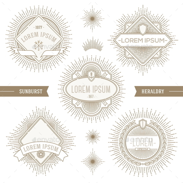 GraphicRiver Set of Line Heraldic Emblems with Sunburst 10519183