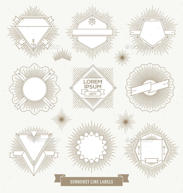 GraphicRiver Hipster Labels and Emblems with Sunburst 10519211