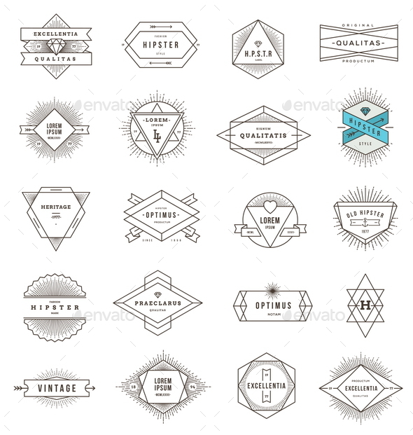 GraphicRiver Set of Hipster Line Emblems and Signs 10519540