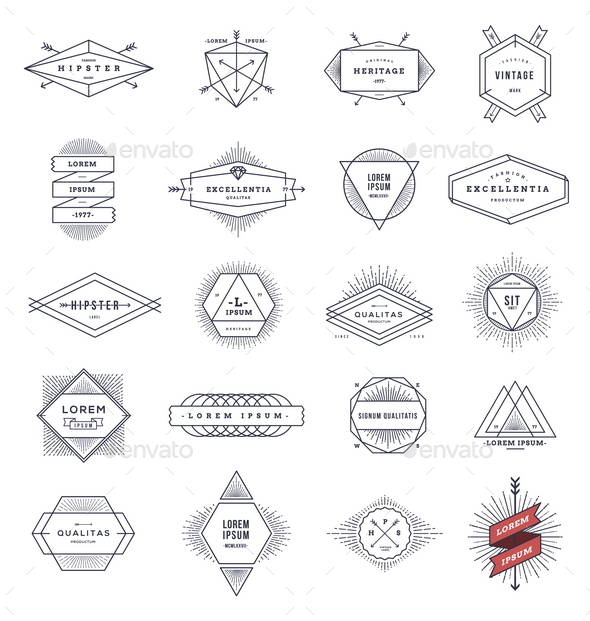 GraphicRiver Set of Hipster Line Emblems and Signs 10519554