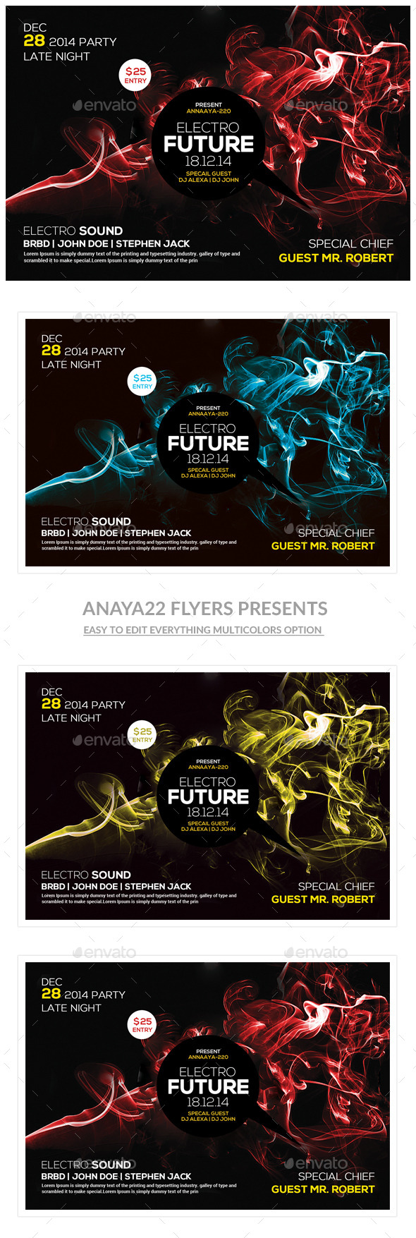 GraphicRiver Electro Color Sounds Party Flyer 10519560