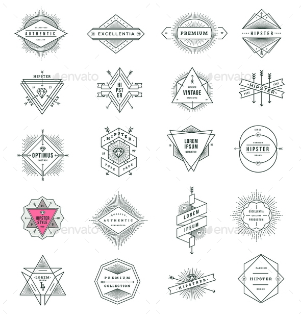 GraphicRiver Set of Hipster Line Signs and Emblems 10519590