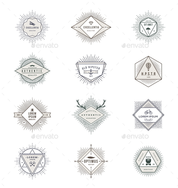 GraphicRiver Set of Hipster Signs and Emblems with Sunburst 10519636