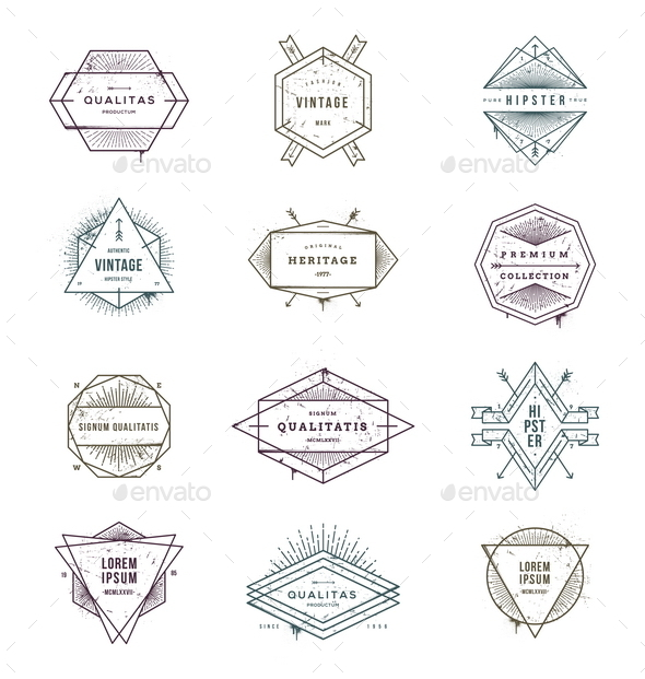 GraphicRiver Set of Grunge Hipster Signs and Emblems 10519647