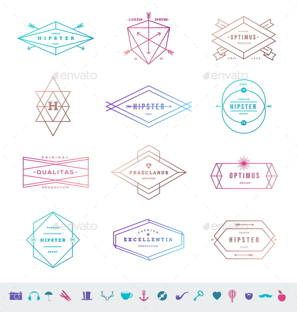 GraphicRiver Set of Hipster Line Emblems and Signs 10519654