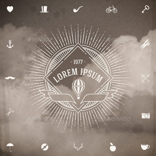 GraphicRiver Vintage Hipster Line Emblem with Sunburst 10519660