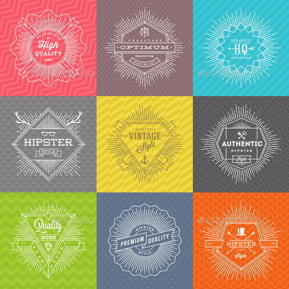 GraphicRiver Set of Line Signs and Emblems with Hipster Symbols 10519709