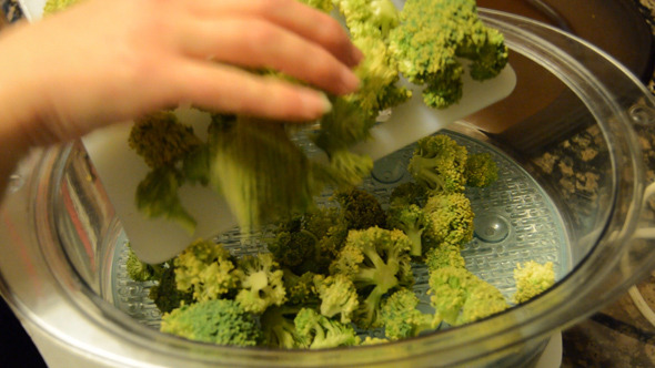 Broccoli Placed On The Steamer