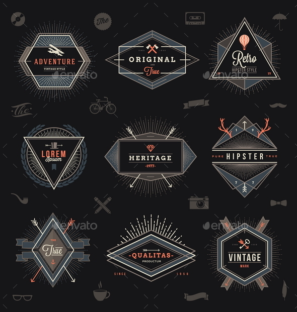GraphicRiver Set of Hipster Emblems Labels and Sign 10519781