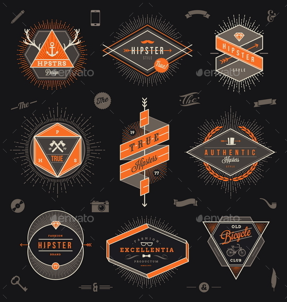 GraphicRiver Set of Hipster Emblems Labels and Sign 10519826
