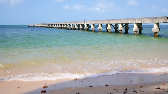 Pier In Summer Day At The Sea On Tropical Island