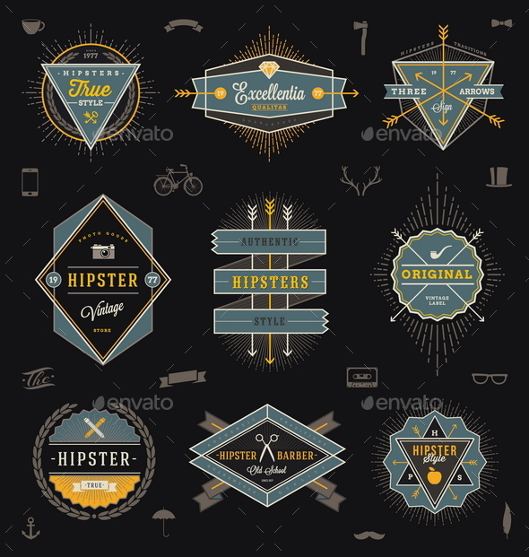 GraphicRiver Set of Hipster Emblems Labels and Sign 10519959